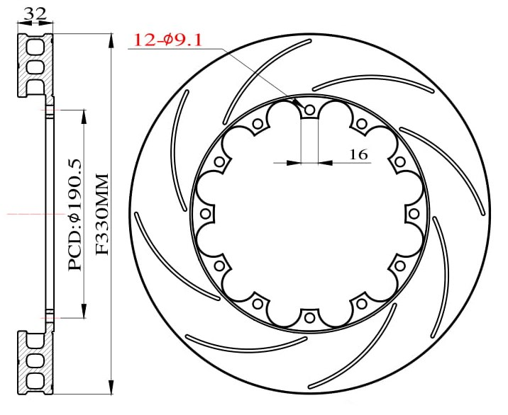 Tarcze hamulcowe nacinane do zestawu Big Brake 330mm 2009-2011 - GRUBYGARAGE - Sklep Tuningowy